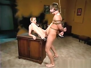 Blonde TEEN torturing tied up guy