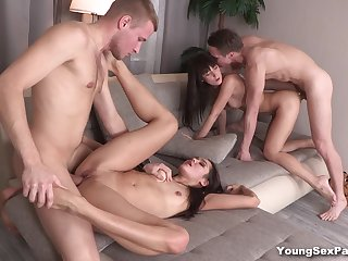 Young Sex Parties - Angie Moon - Aziza - Foursome party with sex cards